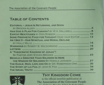 Thy Kingdom Come contents page